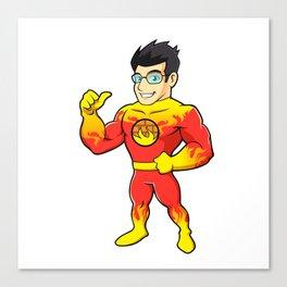 Super hero fireman cartoon Canvas Print