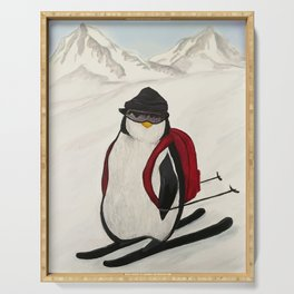 Skiing Penguin Serving Tray