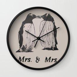 Wedding Penguins (Mrs. & Mrs.) Wall Clock