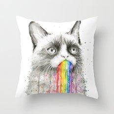 Grumpy Rainbow Cat Watercolor Animal Meme Geek Art Throw Pillow