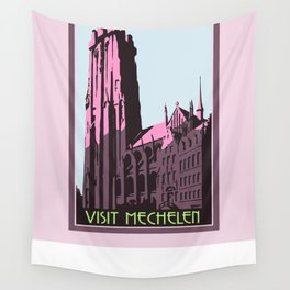 Mechelen retro vintage travel advert English version Wall Tapestry