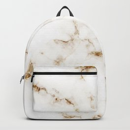 White Marble with Gold Accents Backpack