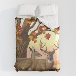 Whitetail Deer Doe & Trophy Buck Maple Trees Fall Colors Comforters