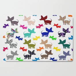 colorful chihuahuas on parade  Cutting Board