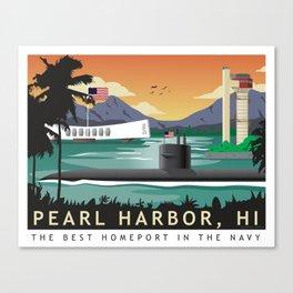 Pearl Harbor, HI - Retro Submarine Travel Poster Canvas Print