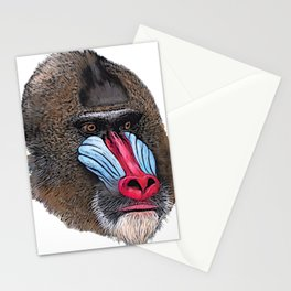 Mandrill Face Mammal Two-tone Muscular Nose White sphinx Stationery Cards
