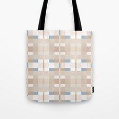Beige and Blue Color Blocks Geometric Pattern Tote Bag