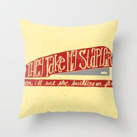 the office Throw Pillows featuring Office Space by Drew Wallace