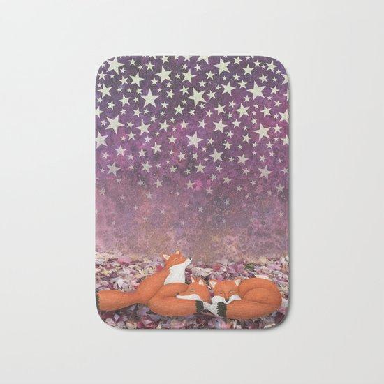 foxes under the stars Bath Mat