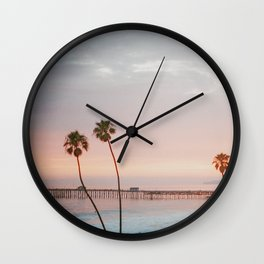 palm trees sunset ii / san clemente, california Wall Clock
