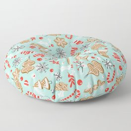 Gingerbread Dreams - Aqua Floor Pillow