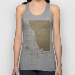 Chicago Gold and White Map Unisex Tank Top