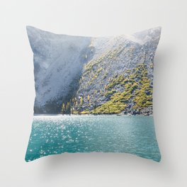 Sparkling Blue Water Alpine Lake Throw Pillow
