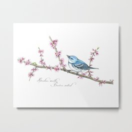 Blue Bird on Pink Spring Blossom Metal Print