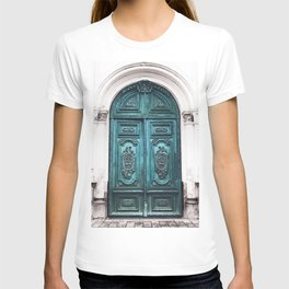 Old Blue-Green Patina Doorway Photograph T-shirt