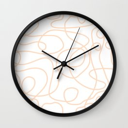 Doodle Line Art | Peach/Apricot Lines on White Background Wall Clock
