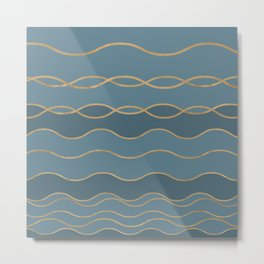 Blueprint Wavy Pattern 1 Metal Print