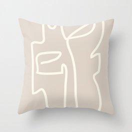 Abstract line art / Face/beige Throw Pillow