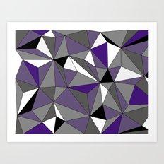 Geo - purple, gray, black and white Art Print