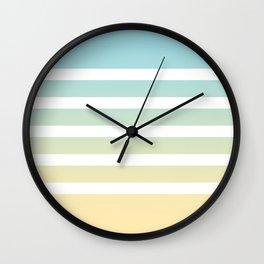 Aqua yellow white lines Wall Clock