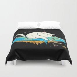 Flat Earth Cat Duvet Cover