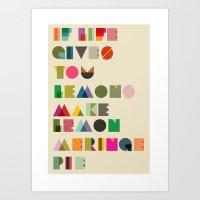 pie Art Prints featuring Pie by kingslip