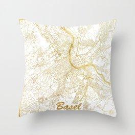 Basel Map Gold Throw Pillow