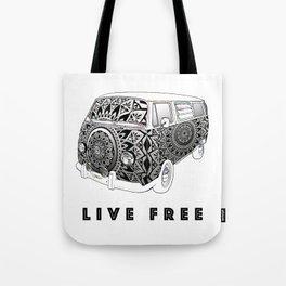 """Bus Life"" B&W Mandala Illustration Tote Bag"