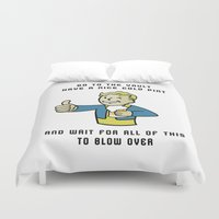 fallout Duvet Covers featuring Fallout Vault boy advice by Komrod