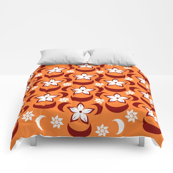 Orange floral fantasy Comforters
