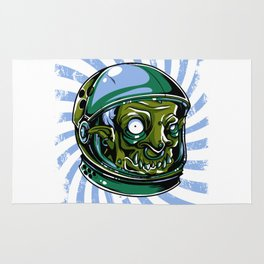 Astronaut Zombie Scary Face - I WAS TAKEN BY ALIENS Rug