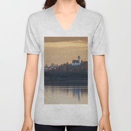 Nature lake and view to St.Martins Church Unisex V-Neck