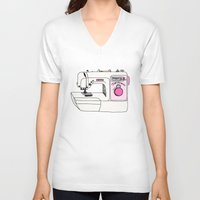 sewing V-neck T-shirts featuring My Sewing Machine by The Wellington Boot