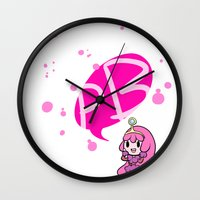princess bubblegum Wall Clocks featuring Princess Bubblegum by dartty
