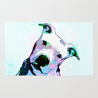 pit bull Area & Throw Rugs featuring Pit bull - Puzzled - Pop Art by William Cuccio aka WCSmack