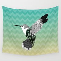hummingbird Wall Tapestries featuring Hummingbird by Venansia Natasya