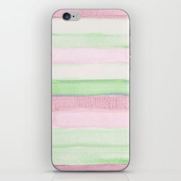 Blush pink green watercolor brushstrokes stripes iPhone Skin