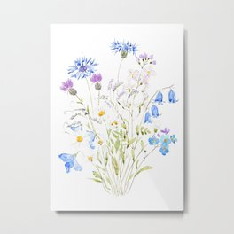 white purple and blue wildflowers  Metal Print