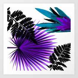 PALM AND FERN PURPLE BLACK AND WHITE TROPICAL PATTERN Art Print