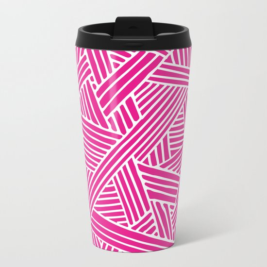 Abstract pink & white Lines and Triangles Pattern-Mix and Match with Simplicity of Life Metal Travel Mug
