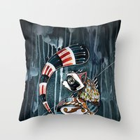 racoon Throw Pillows featuring Racoon by mr. louis