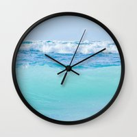 blankets Wall Clocks featuring Kapukaulua Pure Blue Surf by Sharon Mau