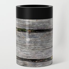 Grey boards with scattered fall leaves Can Cooler