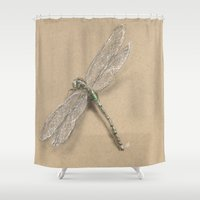 dragonfly Shower Curtains featuring Dragonfly by Daydreamer