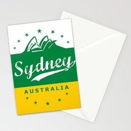 Sydney City, Australia, green yellow, poster Stationery Cards