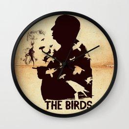 The Birds Hitchcock silhouette art Wall Clock