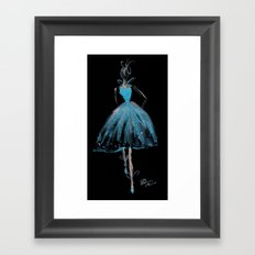 Blue and Light Haute Couture Fashion Illustration Framed Art Print