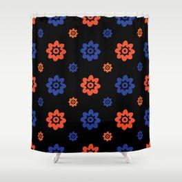 Florida Gator Colors Flower Print on Black Shower Curtain