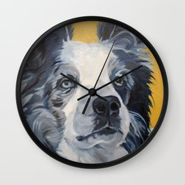 Belle the Border Collie Dog Portrait Wall Clock