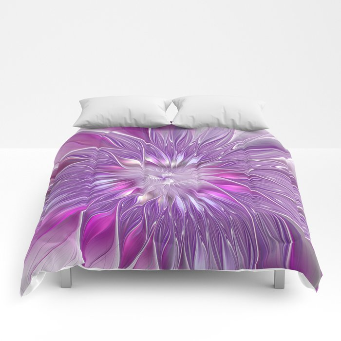 Pink Flower Passion, Abstract Fractal Art Comforters